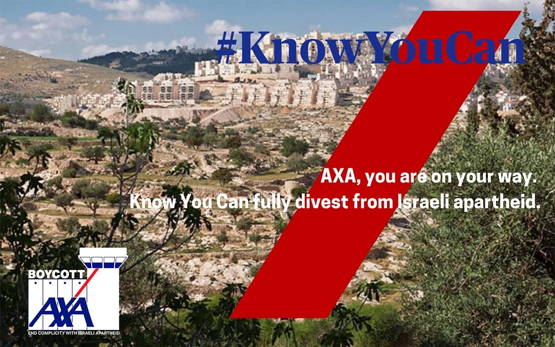 AXA blijft investeren in de Israëlische apartheid. Boycot AXA nu!