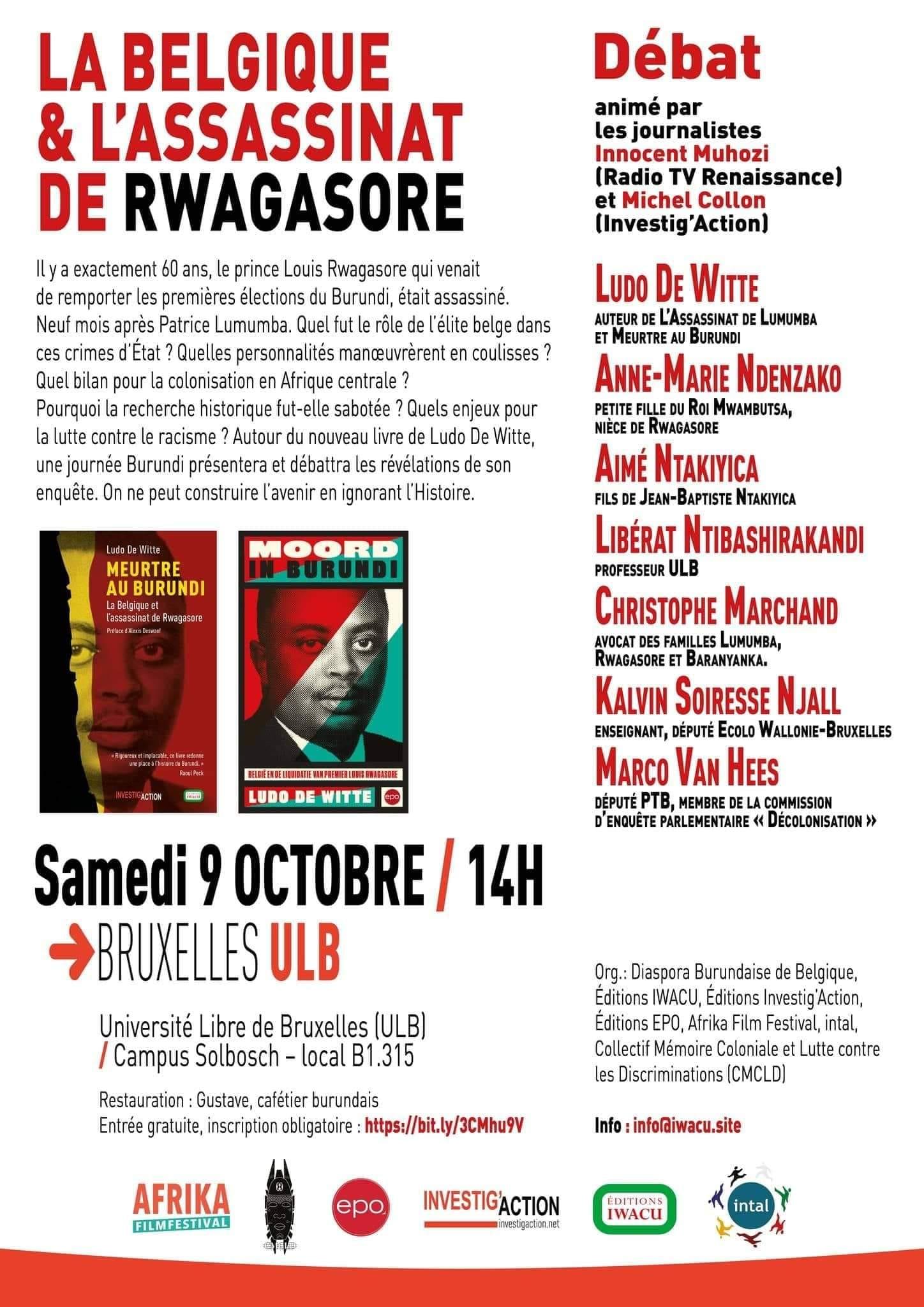 La Belgique et l'assassinat de RWAGASORE – Débat ULB samedi 9 octobre